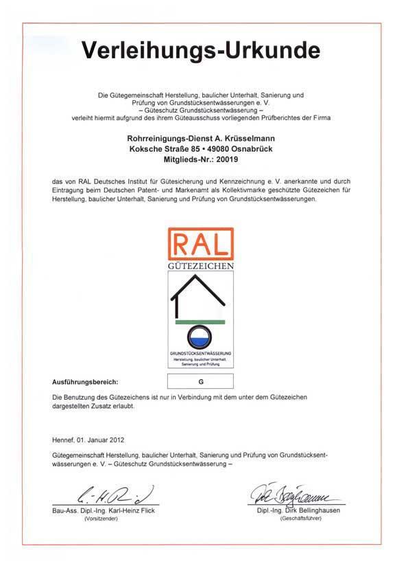 RAL-Gütezeichen-Zertifikat