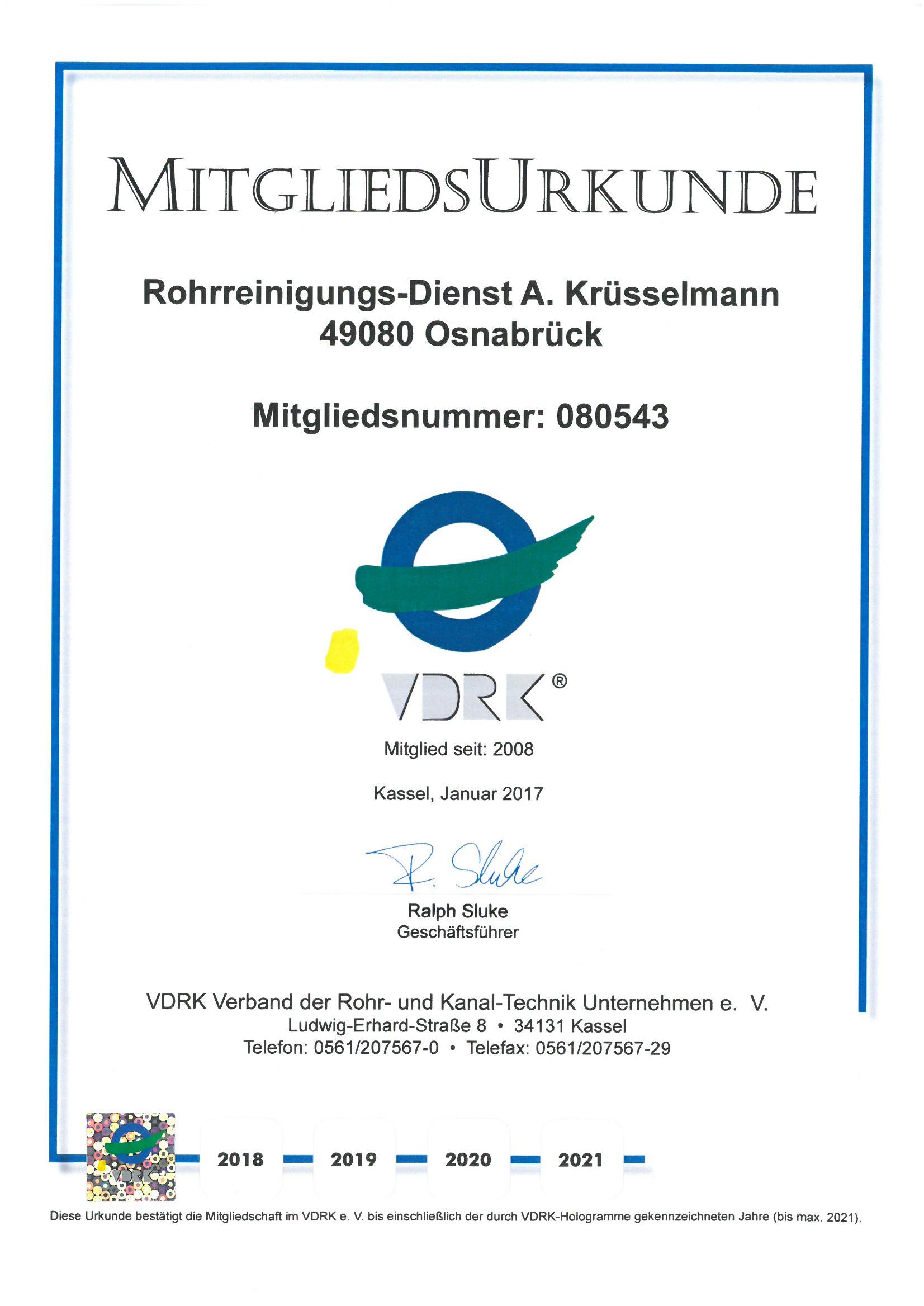 VDRK-Mitglieds-Urkunde